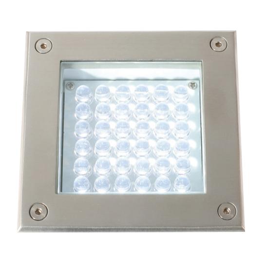 Lampenlux LED Bodeneinbaustrahler Anko 230V Außenleuchte Eckig Spot Edelstahl