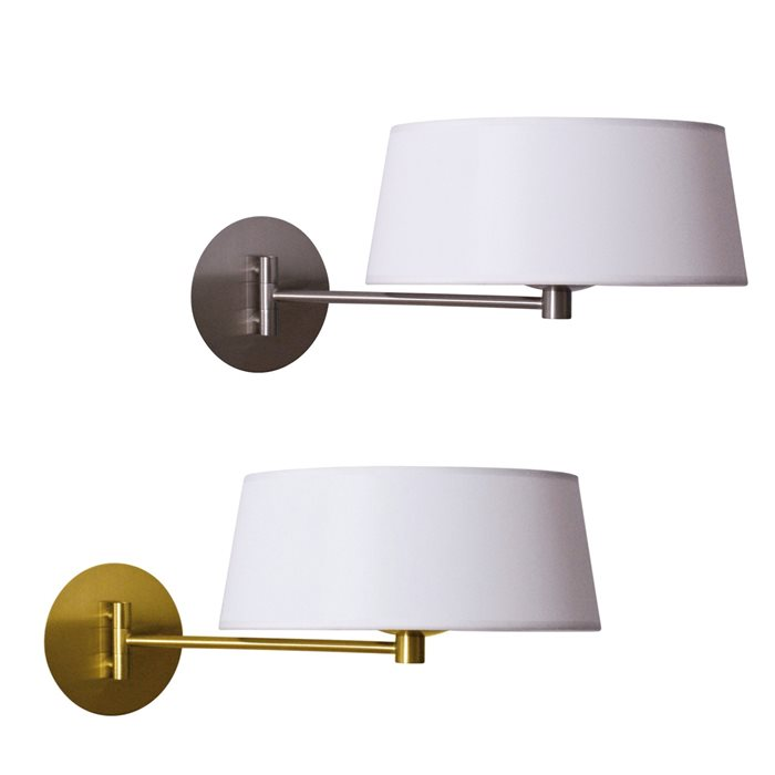 lampenlux led wandlampe guido bettlampe wei stofflampe stoffleuchte gold nickel leseleuchte. Black Bedroom Furniture Sets. Home Design Ideas
