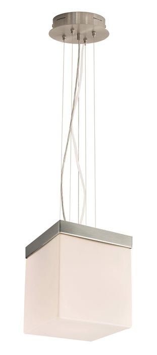 Lampenlux LED Pendel Hnge Lampe Leuchte Dave Glas Eckig Weiss Matt Wohnzimmer 12cm 230V