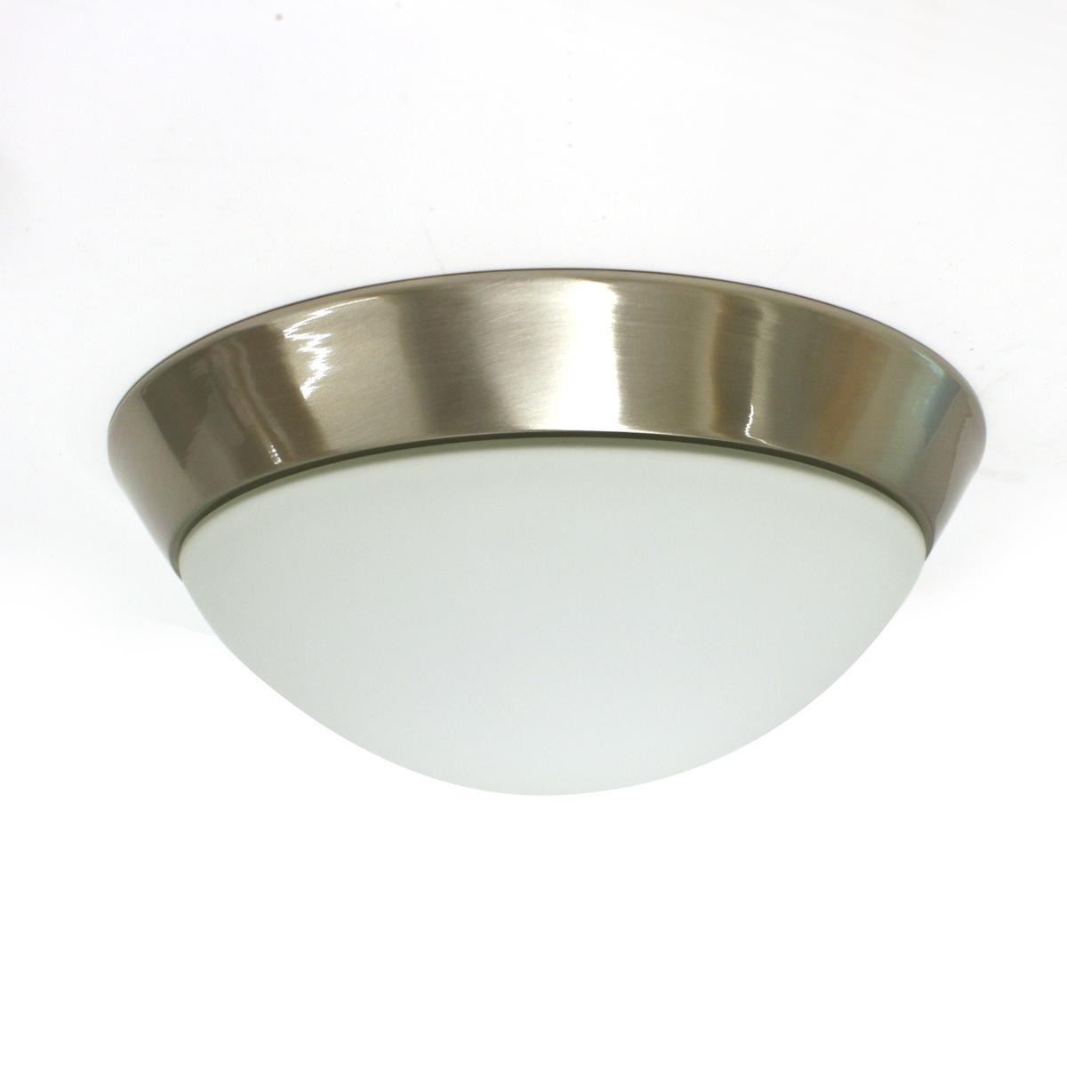 Lampenlux Deckenleuchte Dodo IP44 230V Deckenlampe Badlampe Rund Glas Fassung E27 Ø40cm Terasse Nickel Badezimmer Flur