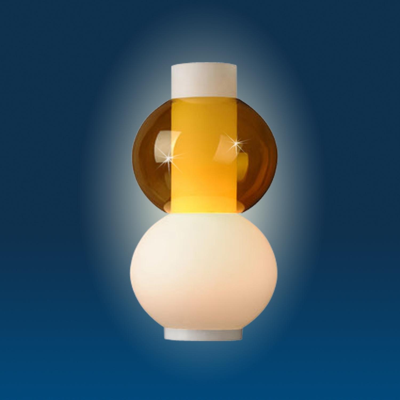 Lampenlux Tischleuchte Tischlampe Tischlicht Thaddeus modern Amber Opal E27 100W