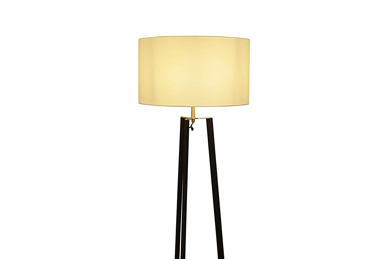 Lampenlux Stehlampe Sanzur Stehleuchte Stoff Nickel Weiß 165cm Ø 45 cm E27 60W