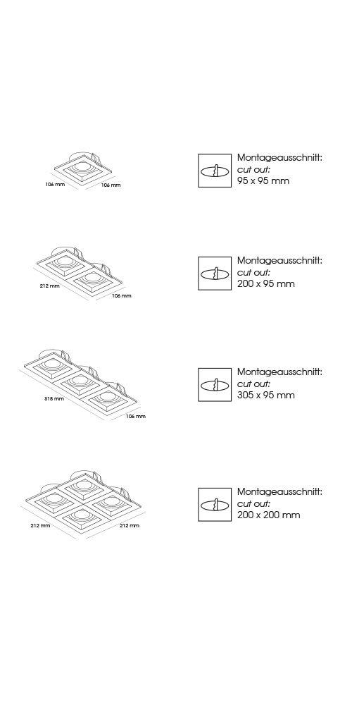 Lampenlux LED-Einbaustrahler Spot Scout eckig schwarz dreh- und schwenkbar Einbauspot
