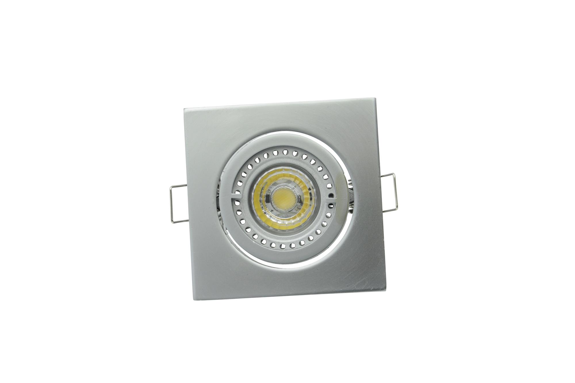 Lampenlux Einbaustrahler Spot Snap eckig Chrom matt schwenkbar 8.2x8.2cm 12V rostfrei