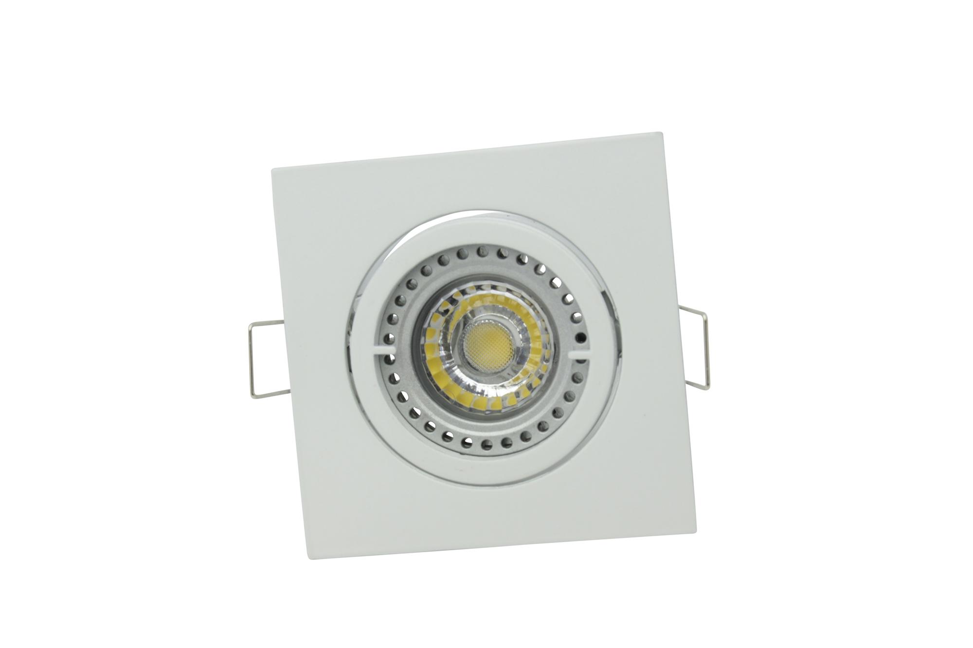 Lampenlux Einbaustrahler Spot Snap eckig weiß schwenkbar 8.2x8.2cm 12V MR16 rostfrei Aluminium