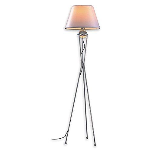 Lampenlux Stehleuchte Stehlampe Bella mit Stoffschirm nickel weiss H: 172cm