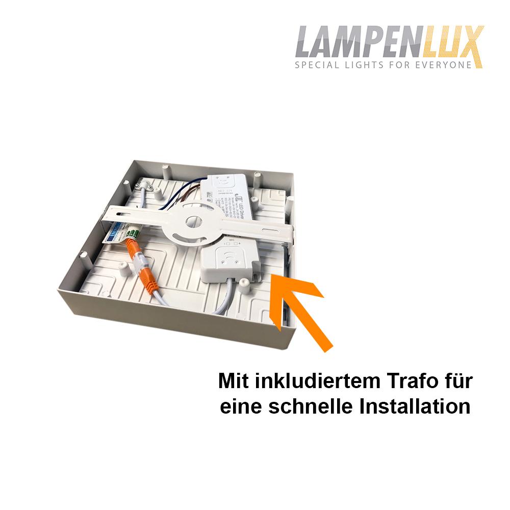 Lampenlux LED Aufbauleuchte Lumina Deckenlampe Warmweiß eckig 12-60cm