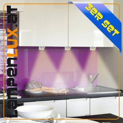 Lampenlux SET Unterbauleuchte Mica Unterbaulampe Wandlampe Wandleuchte Küchenlampe Küchenleuchte Aufbaulampe 3-5 Strahler Spot Silber 230V