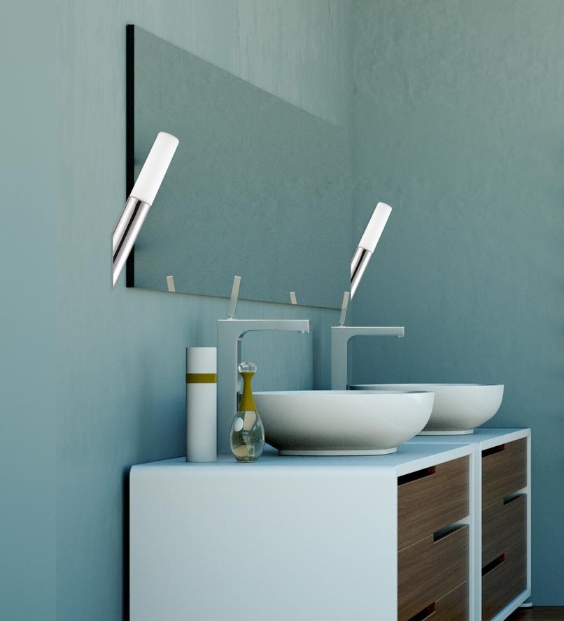 Lampenlux LED Wandlampe Oskar Wandleuchte Badlampe Spiegelleuchte Fackel Chrom