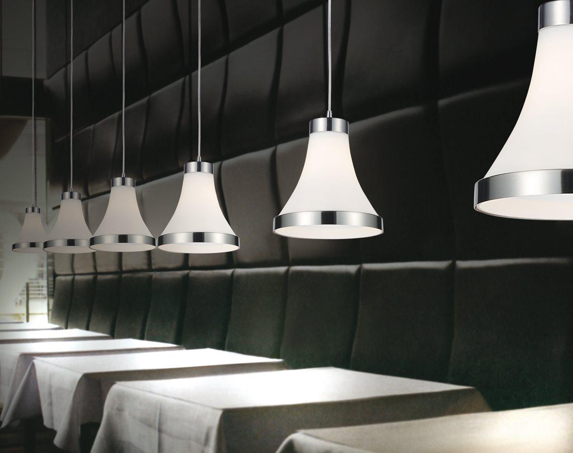 Lampenlux LED Pendelleuchte Basco Hängeleuchte Glas Chromring Weiß Opal Höhenverstellbar