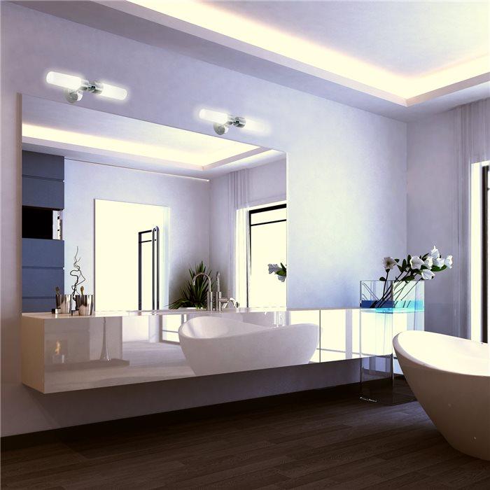 Lampenlux LED Wandlampe Oki Spiegelleuchte Bilderlampe Badleuchte Chrom Weiß Badleuchte