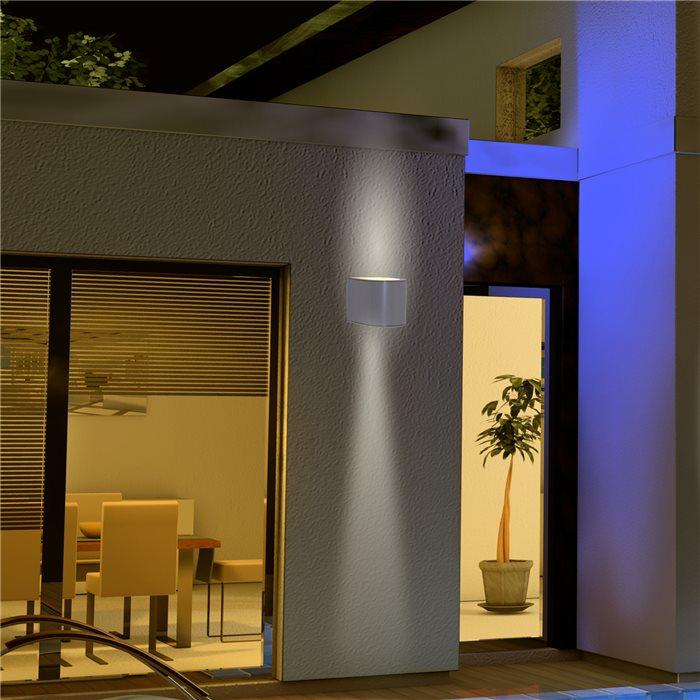 Lampenlux LED Aussenleuchte Jaru Wandlampe Wandleuchte Up Down Halbrund Alu Grau 4W IP54