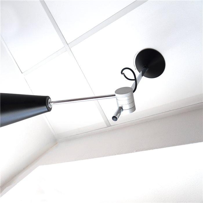 Moderne LED Deckenlampe Zeppo schwenkbar höhenverstellbar schwarz IP20 15W 230V