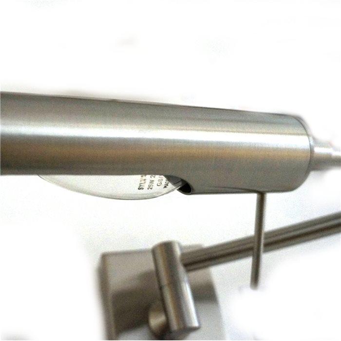 Lampenlux Wandlampe Allan Bilderlampe mit Schalter Nickel Drehbar Schwenkbar Leselicht
