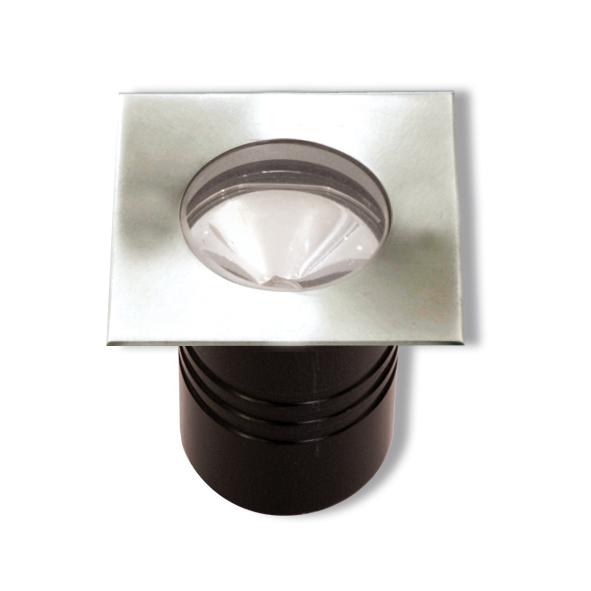 Lampenlux High Power LED Bodeneinbaustrahler Satem 230V Außenleuchte Edelstahl Rund Eckig mit Trafo extern Glaslinse Spot Strahler