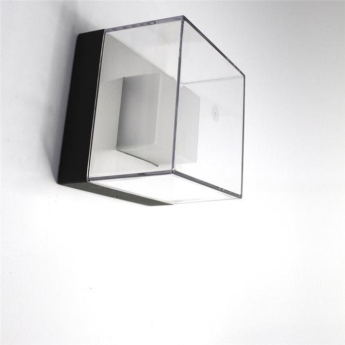 Lampenlux LED Außenwandleuchte Agor Warmweiß Wandlampe Ø14-20cm IP44 Schwarz Eckig Außenlampe Außenleuchte