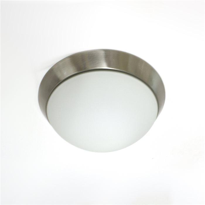 Lampenlux LED Deckenleuchte Dodo IP44 230V Deckenlampe Badlampe Rund Glas Fassung E27 Ø28cm Terasse Nickel Badezimmer Flur