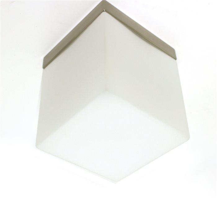 Lampenlux Decken Lampe Leuchte Dave Glas Eckig Weiß Matt Wohnzimmer Flur 12x12cm 230V