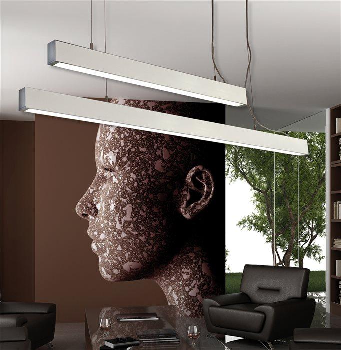 Lampenlux Pendellampe Pendelleuchte Baccio Bürolicht Silber Fassung T5 21W 90cm