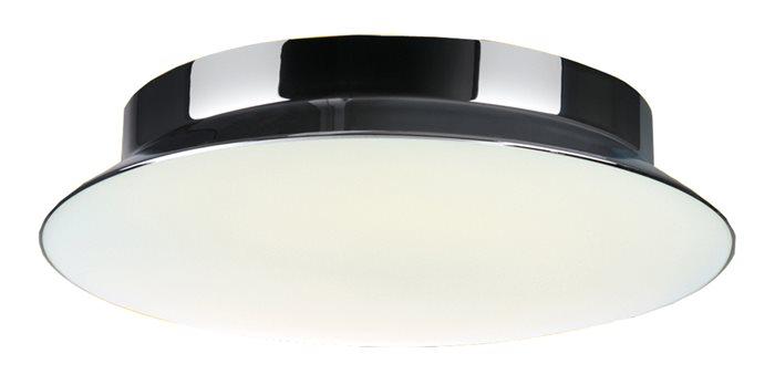 Lampenlux Energiespar Deckenlampe Zeno Opalglas Chrom glänzend rund Ø 30cm inkl EVG Leuchtstoffröhre