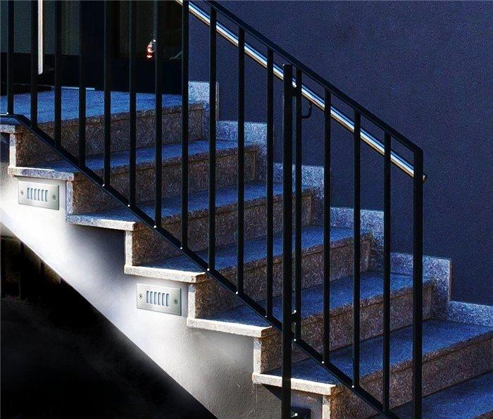 Lampenlux LED Einbaustrahler Sascha IP54 Aussenleuchte Eckig Wand Tagweiß Aluminium