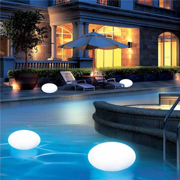 Lampenlux LED RGB Außenlampe Schwimmkugel Poollampe Schwimmlampe Gartenlampe mit Akku 230V