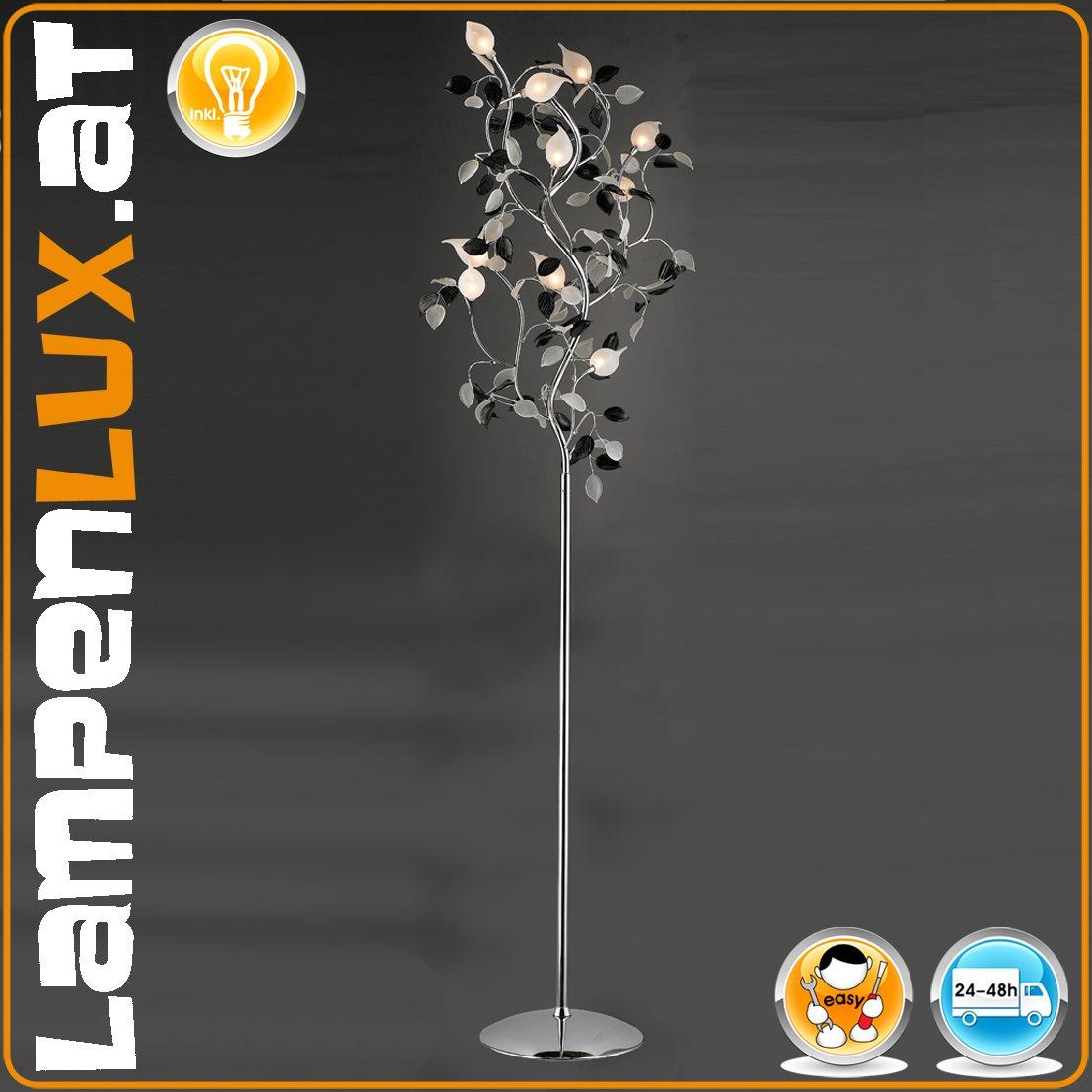 Lampenlux Stehlampe Steh Leuchte Lampe Glas Blätter Nickel
