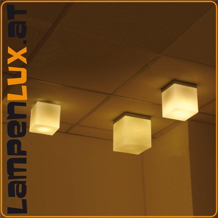 Lampenlux Decken Lampe Leuchte Dave Glas Eckig Weiß Matt Wohnzimmer Flur 16x16cm 230V
