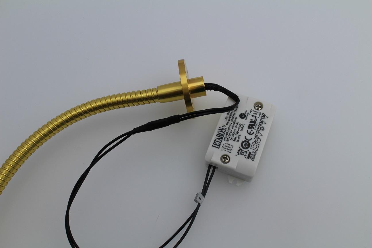 Lampenlux High Power LED Wandlampe Wandleuchte Adela Leselampe Schwanenhals Bettleuchte Bettlampe Gold 1W Länge: 40 cm