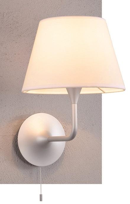 Lampenlux Wandlampe Liranus Wandleuchte Ø 26 cm mit Zugschalter silber weiß E27 60W