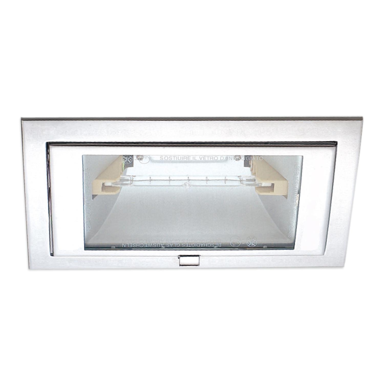 Lampenlux Einbaustrahler Tiram eckig 60° schwenkbar 21,5x14,6cm Aluminium rostfrei (Nickel)