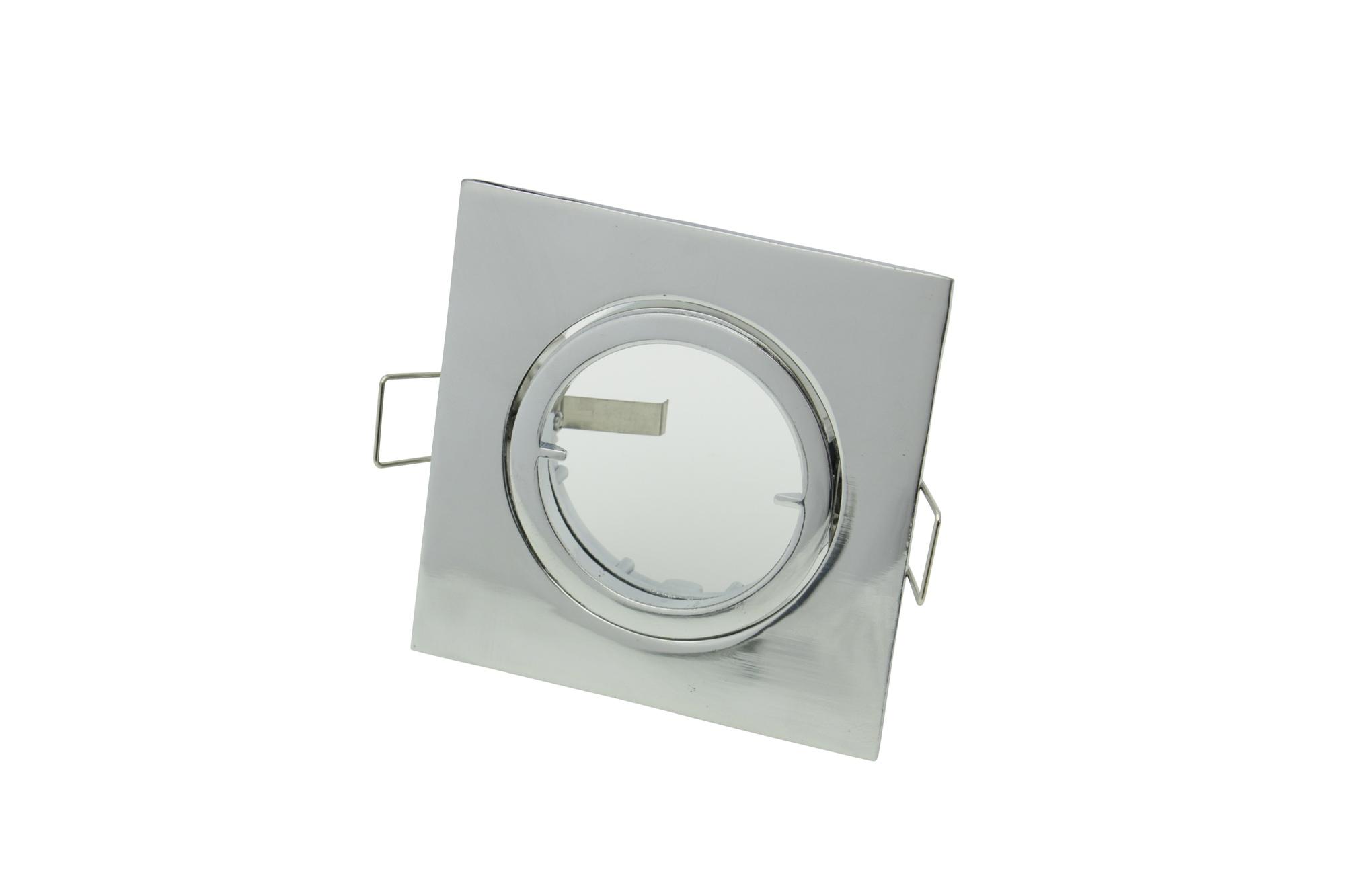 Lampenlux Einbaustrahler Spot Snap eckig Chrom schwenkbar 8.2x8.2cm 230V GU10 rostfrei Aluminium