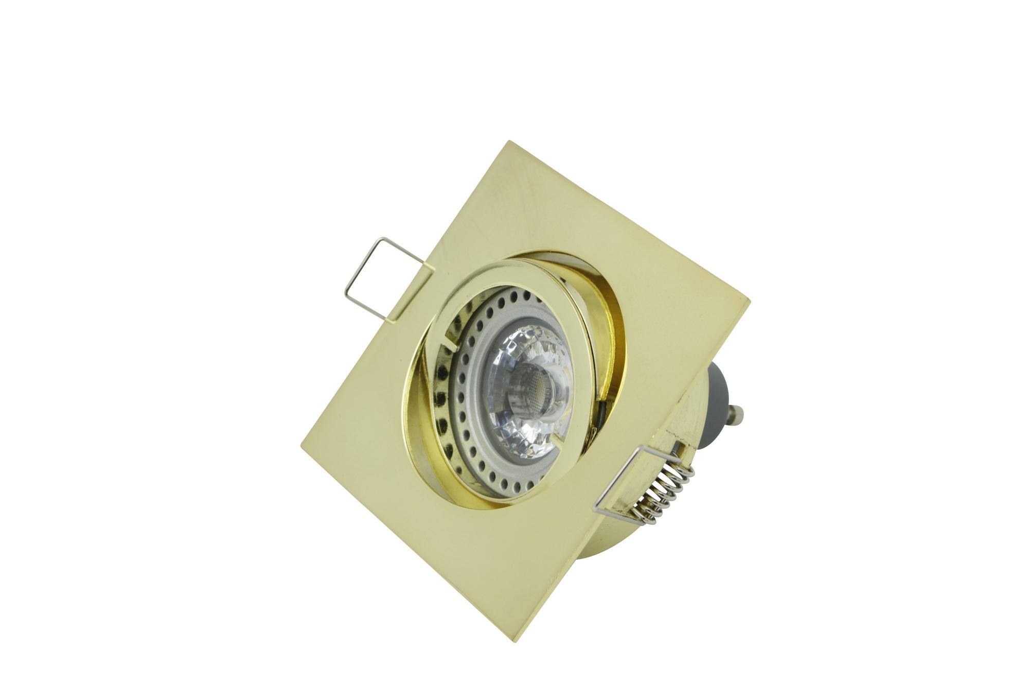 Lampenlux LED-Einbaustrahler Spot Snap eckig gold gebürstet schwenkbar 8.2x8.2cm 12V rostfrei Aluminium