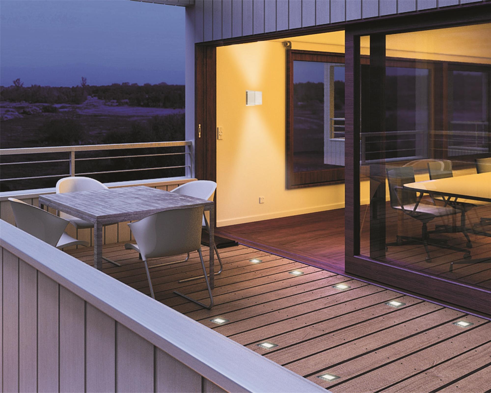 Lampenlux LED eckig Einbaustrahler Siro Nickel gebürstet IP54 230V für Außenbereich, Terrasse, Garten und Innenbereich