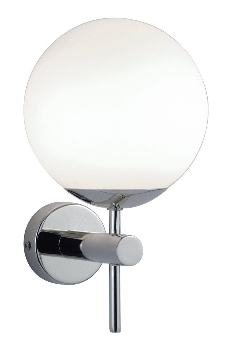Lampenlux  Wandlampe Wandleuchte Oxan Badlampe Glasschirm Chrom Weiß Kugellampe Spiegel
