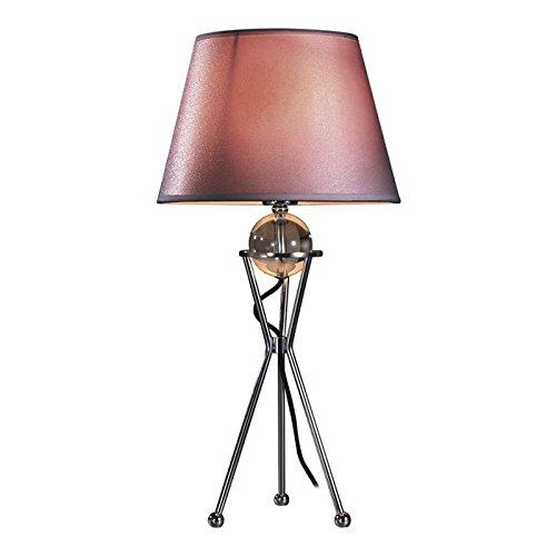 Lampenlux Tischleuchte Brenda mit Stoffschirm und Glaskugel Nachttischlampe chrom grau Höhe: 42 cm