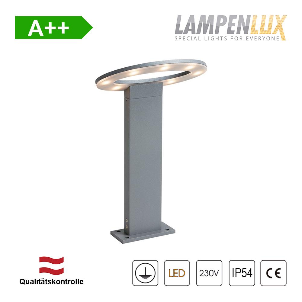 Lampenlux LED Außenleuchte Kay Pollerlampe Silber 7W IP54