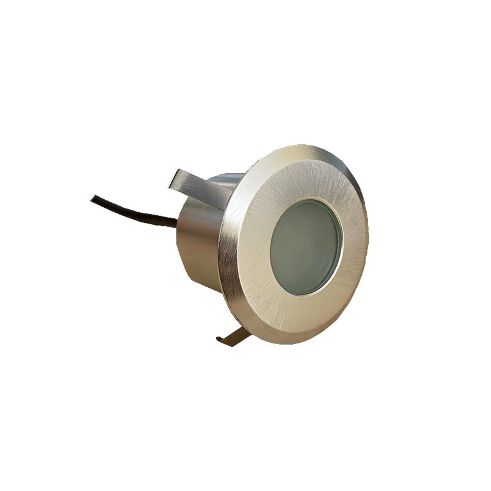 Lampenlux LED Einbaustrahler Rund Siro Außenleuchte 4W 230V für Außenbereich Innenbereich Terrasse Nickel Gebürstet