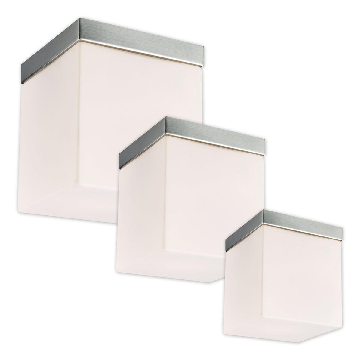 LED Decken Lampe Leuchte Dave Glas Eckig Weiß Matt Wohnzimmer Flur 12x12cm 230V