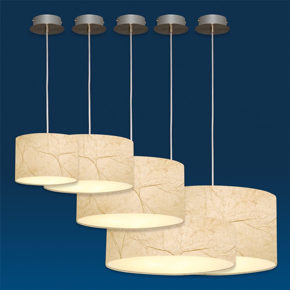 Lampenlux Pendelleuchte Nero Hängeleuchte Bauhaus Höhenverstellbar Nickel Satiniert Lichtdurchlässige Folie Robust Hängelampe Pendellampe Ø15-60cm