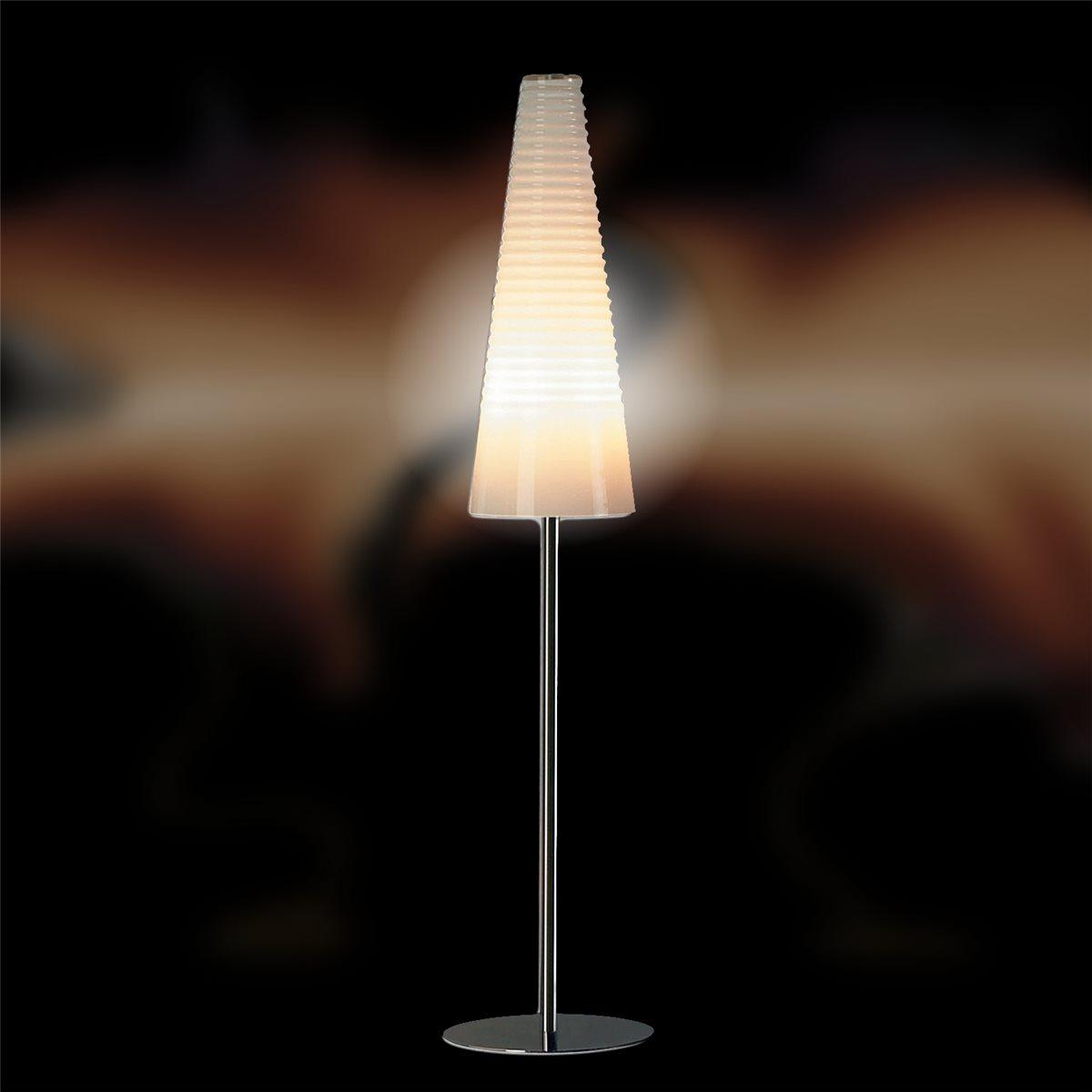 Lampenlux LED Tischlampe Tischleuchte Anja mit Glasschirm weiss G9 Höhe: 180 cm