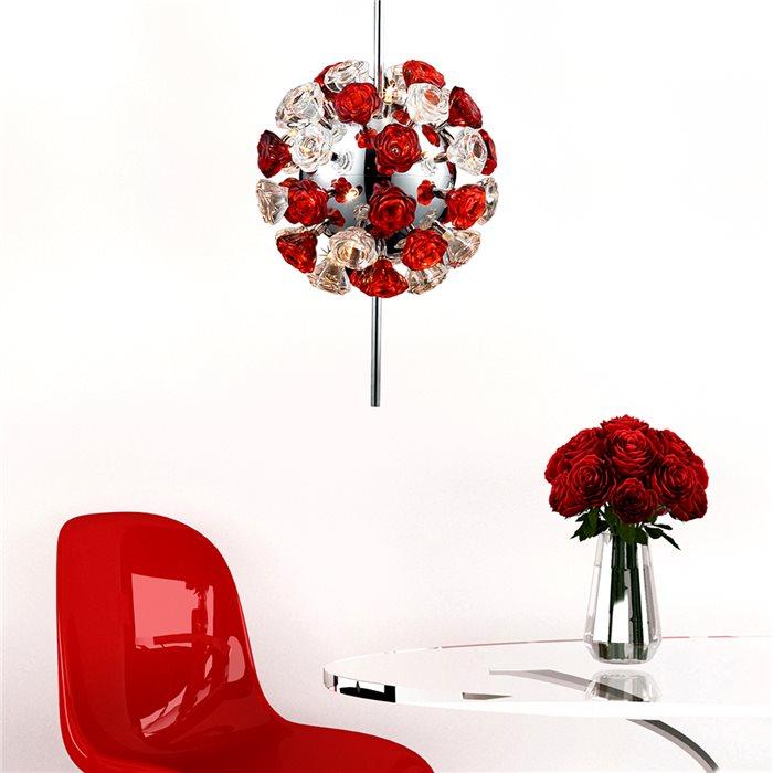 Lampenlux Designer Pendelleuchte Hängeleuchte Zeus Glas Rosen Modern inkl. Leuchtmittel