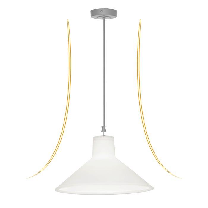 Lampenlux LED Pendellampe Pendelleuchte Bianco Glasschirm Opal Weiß Gold Fassung E27