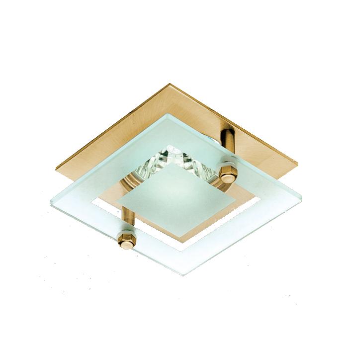 Lampenlux LED-Einbaustrahler Spot Sato Glas rostfrei gold 7.5x7.5 cm GU10 230VEinbauleuchte Einbaulampe Einbauspot Spot Strahler Punktstrahler Aluminium Downlight Down Deckeneinbaustrahler Deckeneinbauleuchte
