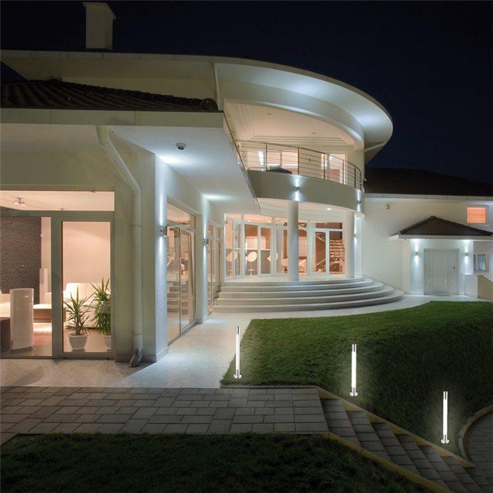 LED Aussenleuchte Asra Pollerleuchte Gartenlampe Erdspieß Wegeleuchte Poller Alu H 50 - 80cm 230V