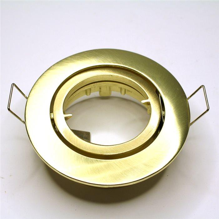 Lampenlux Einbaustrahler Samila Spot rund schwenkbar gold gebürstet MR16 Aluminium