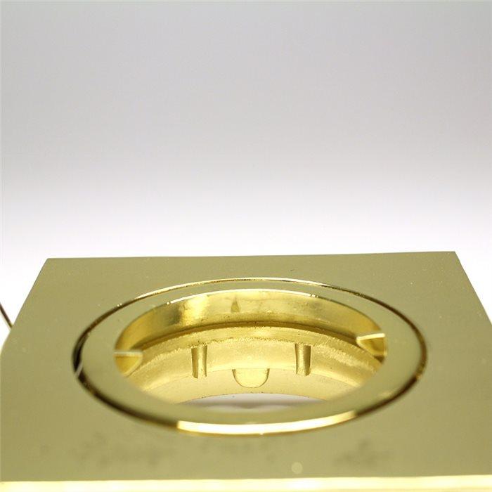 Lampenlux LED-Einbaustrahler Spot Snap eckig Gold schwenkbar 8.2x8.2cm 12V MR16 rostfreiEinbauleuchte Einbaulampe Einbauspot Spot Strahler Punktstrahler Aluminium Downlight Down Deckeneinbaustrahler Deckeneinbauleuchte
