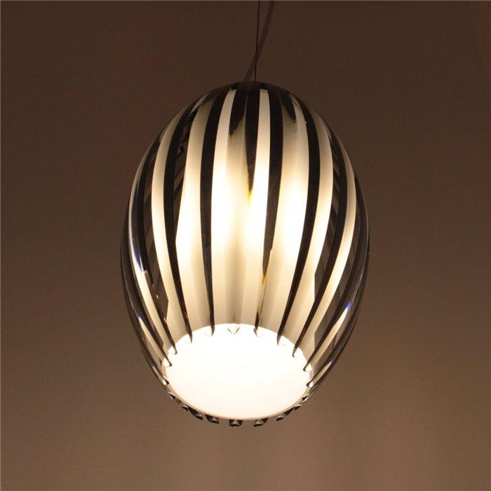 Lampenlux LED Pendelleuchte Bono Hängeleuchte Glas Effektlampe Opal Braun Höhenverstellbar