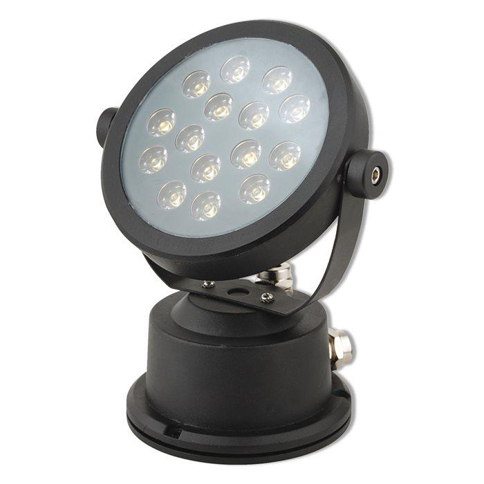 Lampenlux LED Aufbaustrahler Ivar Gartenlampe Fluter Schwenkbar Schwarz 15W 230V