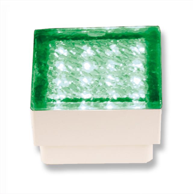 Lampenlux High Power LED Bodeneinbaustrahler Salu Pflasterstein 230V Außenleuchte Begehbar Eckig Amber Gelb Grün 1,5W für Garageneinfahrten